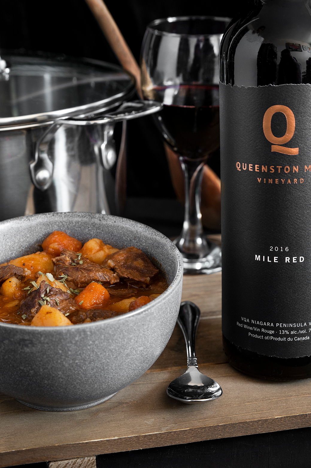 queenston mile vineyard mile red paired with a braised beef stew